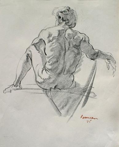 Seated Male Nude Facing Back