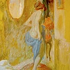Bather in yellow interior