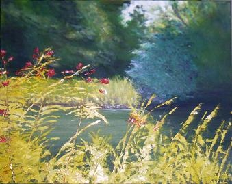 landscape,oil,original,pond,trees,flowers