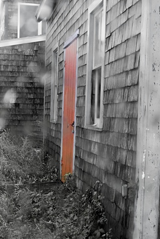 foggy day with red door