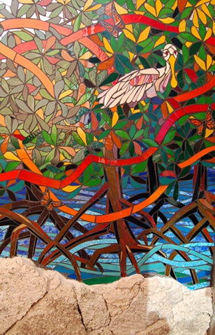 Monarch Migration Mural (Spoonbill Detail)