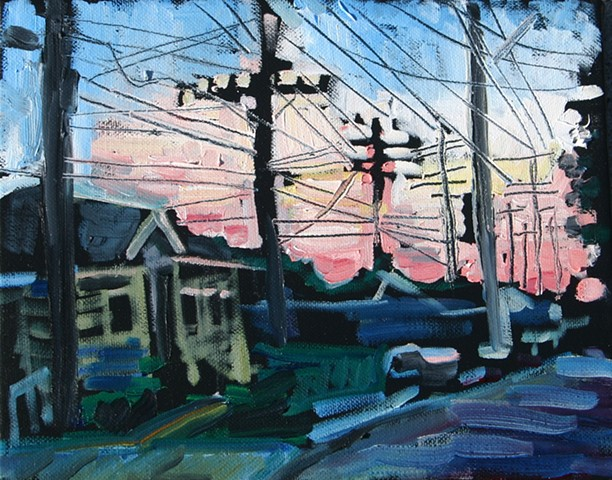 Pink Sunset, Oil on canvas, 8in x 10in