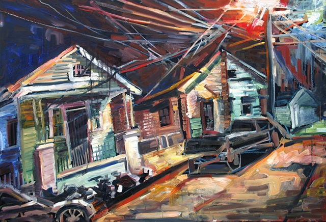 "Two Houses, 34"" x 50"", oil on canvas"