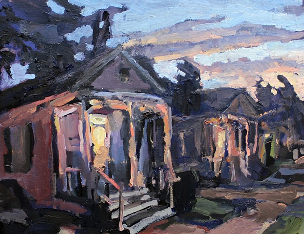 Sunset Neighbors, 14x18in, oil on panel, available