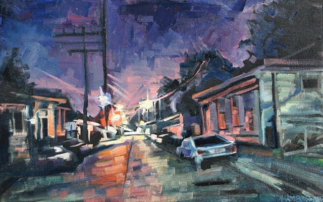 Small Street Nocturne, 14.5in x 23in, Oil on canvas