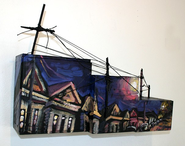 Night Shotguns, 5in x 12in x 17in, oil on wooden boxes with mixed media