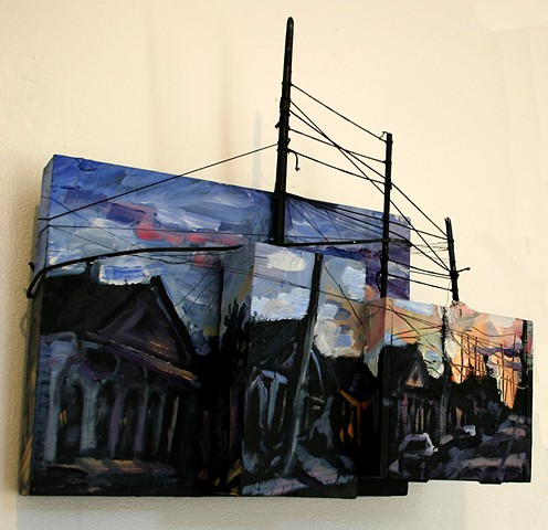 Fractured Street Perspective, 7in x 15in x 15in, oil on wooden boxes with mixed media