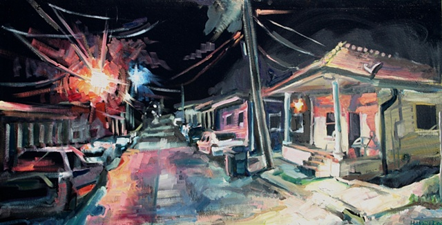 Street at Night, 18in x 34in, oil on canvas