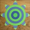 "Laura Sue Phillips  ""Blue Green Flower Target"""