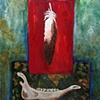 "Mary Harnett ""Return, Feather on Red"""