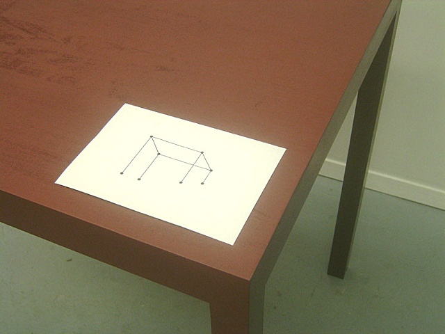 Misguided Table (detail with print)