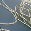 Large Sterling Silver side Cube Necklace