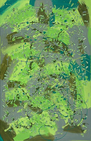 biodegradable green painting- nod to pollock and kiefer