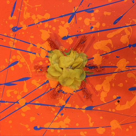 small orange yantra painting with yellow flower