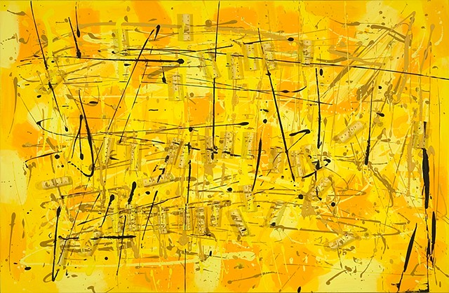 yellow drip (with yellow plastic curlers) painting-ode to pollock and krasner