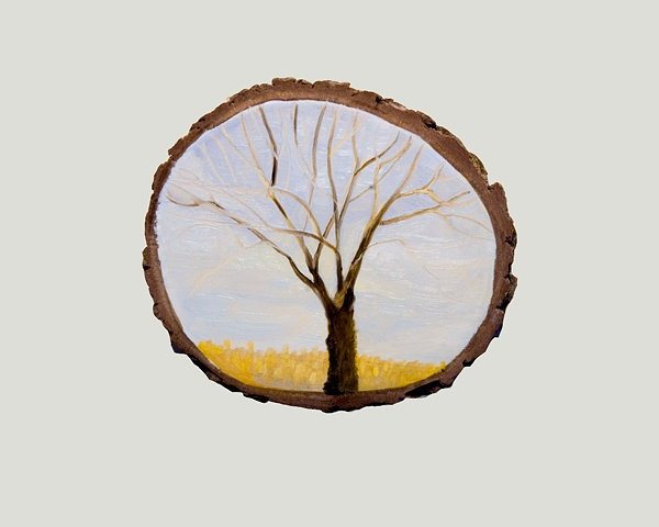 small landscape painting on oak branch segment substrate
