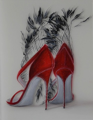 Red shoes with long black feathers and gray soles.