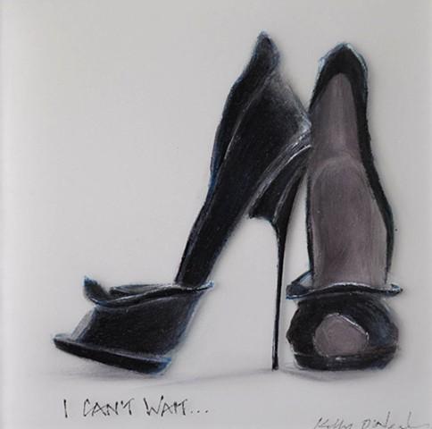 Black bat woman high heel shoes.
