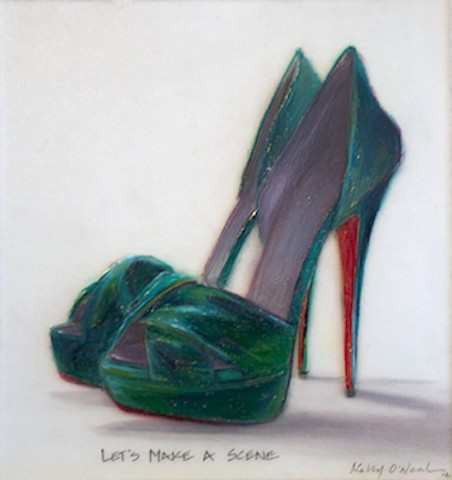 Green-Blue high heeled shoes with Red Soles.