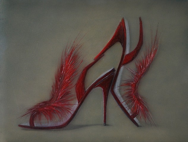 Red Firery Feather high heeled shoes with green-gray background.