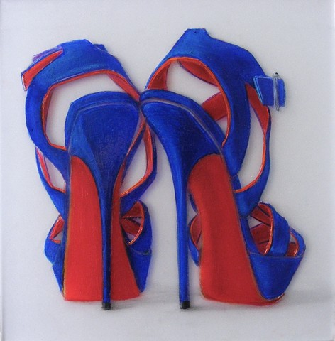 Electric Blue, strappy,high heels, with red-orange soles.