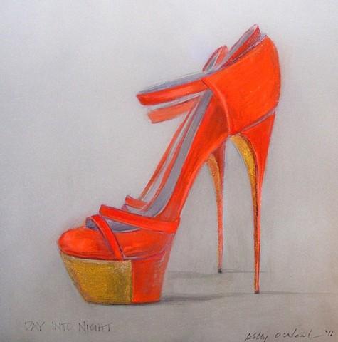 Tangerine Orange, high heeled, shoes with gold platform.