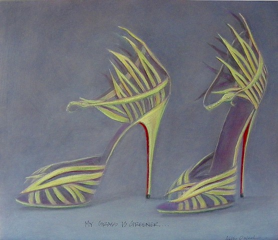 Green blades of glass fashioned into shoes with a snake as an ankle strap and with red soles