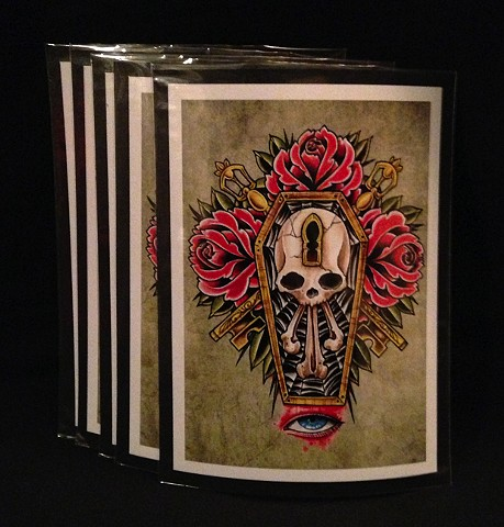 coffin skull 5by7 print