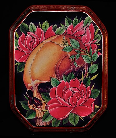 """skull with 3 roses 9"""" by 12"""" cut"""