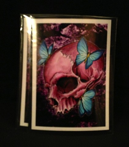 pink skull 5by7 print