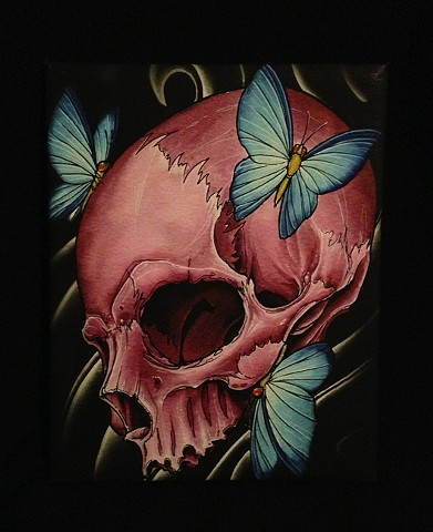 pink skull 8by10 canvas giclee