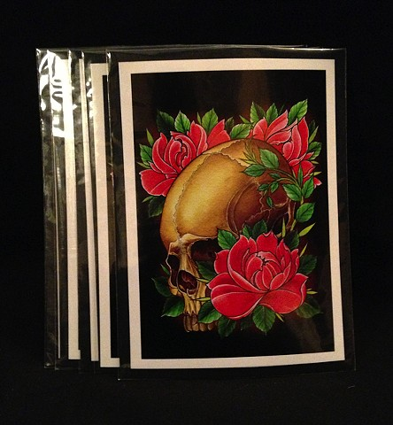 tradition skull and roses 5by7 print