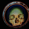 """blue green skull 6"""" by 6"""" round"""