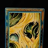 """yellow water color skull 5"""" by 7"""" rectangle"""