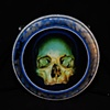 """blue green skull 3"""" by 3"""" round"""
