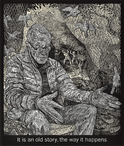 Mark Strand, The Room, woodcut, Flatbed Press