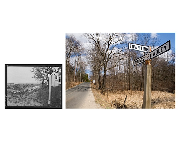 Amherst/Hadley, Massachusetts town line  1938 & 2007