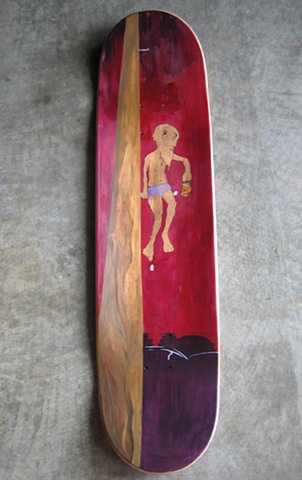 Broken Levee Hermit mixed media on skate-deck