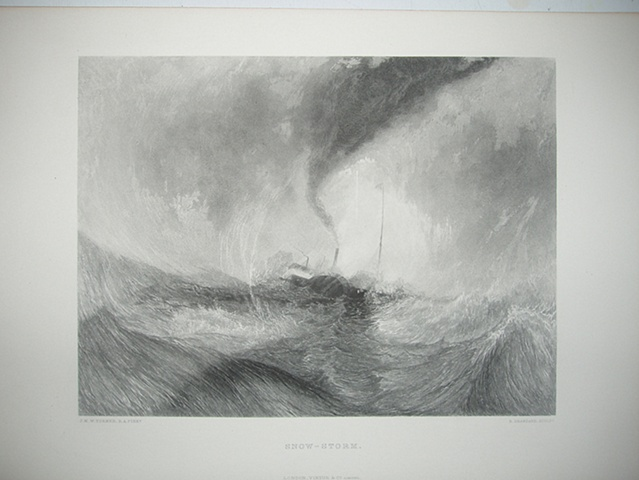 """""""Snow-Storm"""", a late 19th C. reproduction engraving of  J.M.W. Turner's 1842 painting of the same name."""