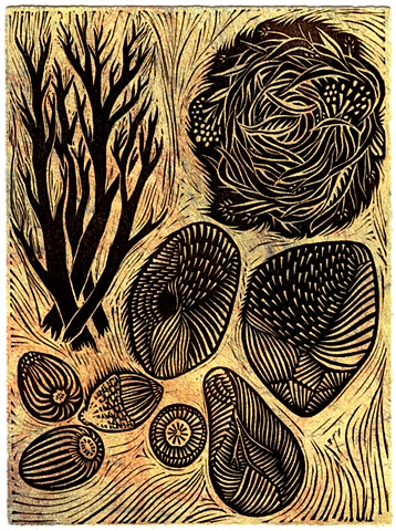 "Linocut ""Gathering"" by Aijung Kim"