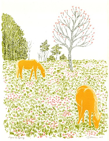 """Signs of Spring"" Screenprint by Aijung Kim / www.aijungkim.com / www.sprouthead.etsy.com"