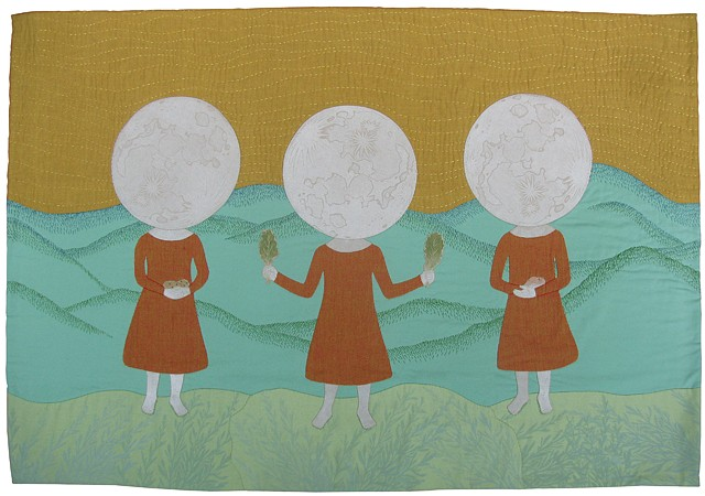 collagraph prints on stitched and quilted fabric art with moon girls holding vegetables in front of mountains in New Mexico