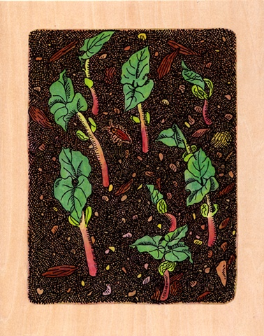 gel transfer painting of bean sprouts in the spring and firefly bug