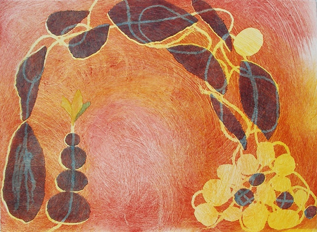 """Monotype print """"The Crossing"""" by Aijung Kim of Sprout Head"""