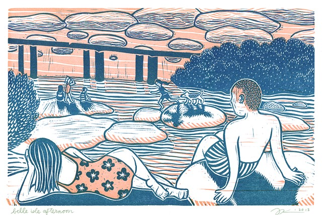 Linocut print of Belle Isle in Richmond Virginia by Aijung Kim