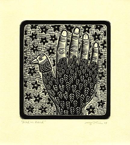 """Bird in Hand"" linocut print by Aijung Kim"