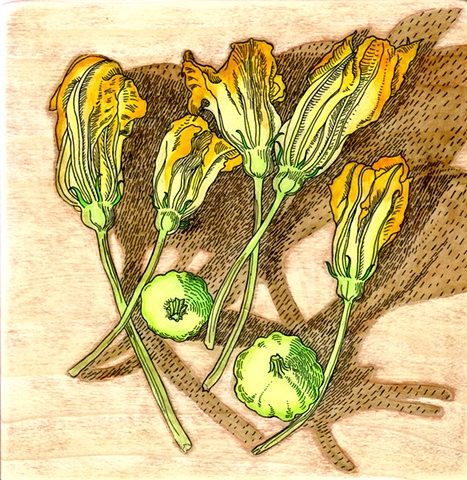 gel transfer painting of patty pan squash blossoms and vegetables