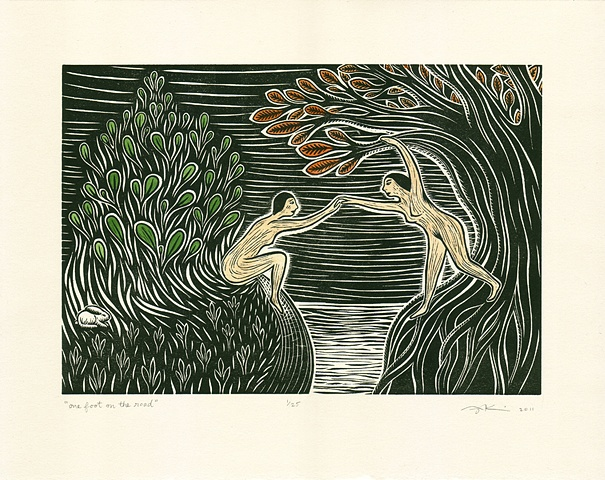 "Linocut print with watercolor, ""One Foot on the Road"" by Aijung Kim"