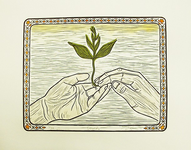 "Linocut print, ""Touch"" by Aijung Kim www.sprouthead.etsy.com"