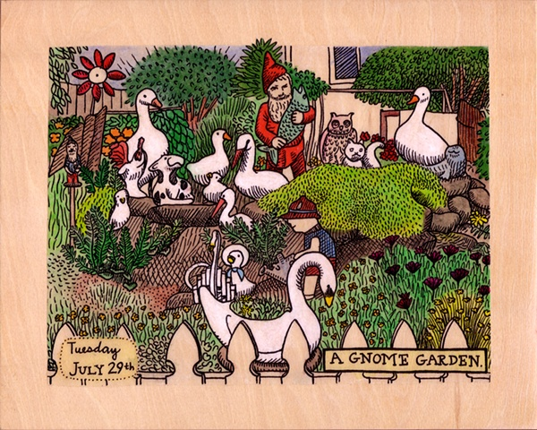 gel transfer painting of a kitschy gnome garden in Portland Oregon with birds swans and lawn ornaments